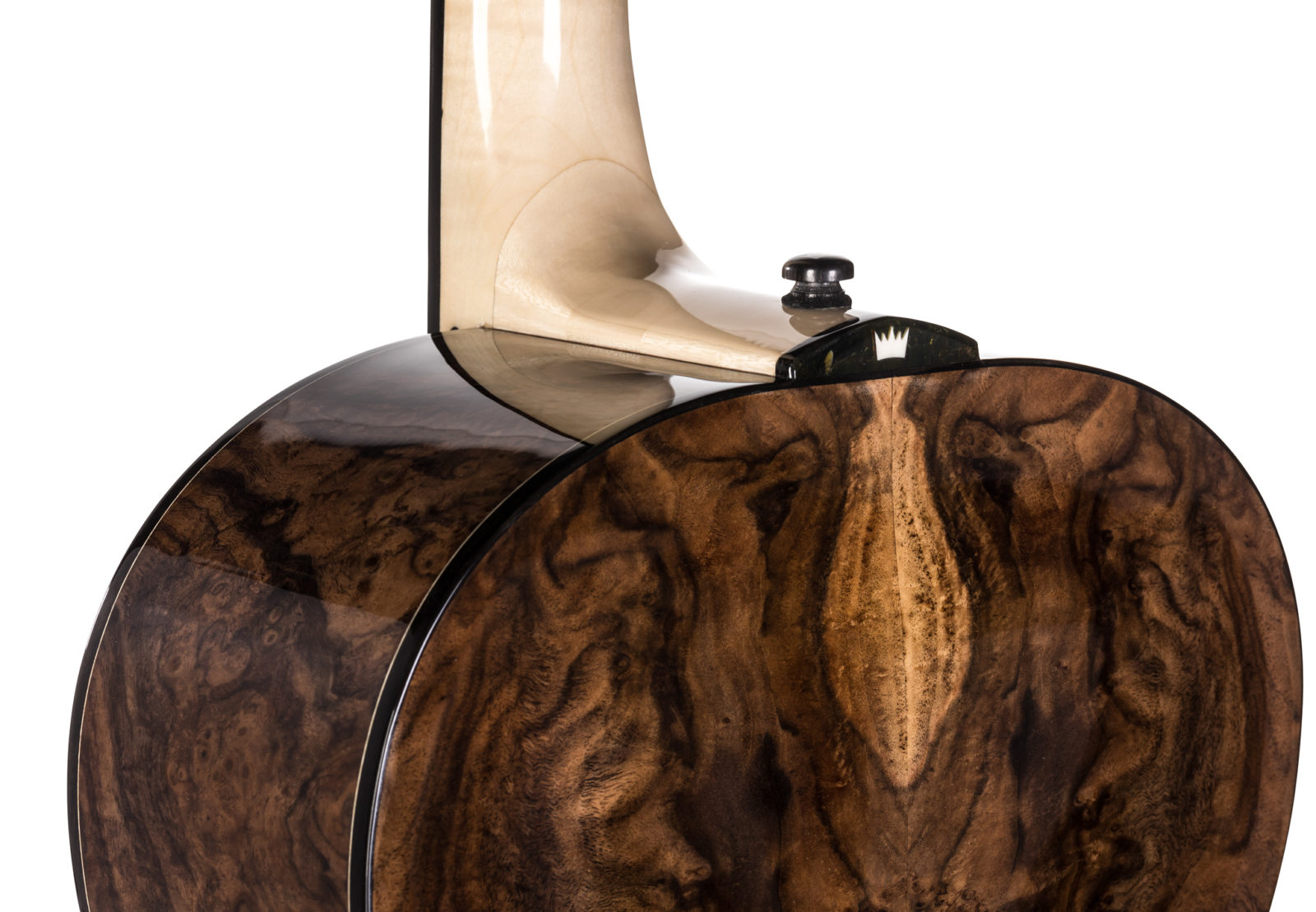 Black Walnut Burl with Natural Baltic Amber Heel Guitar