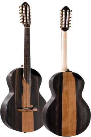 12-string Orchestra Model acoustic guitar - all black from African Ebony with sapwood