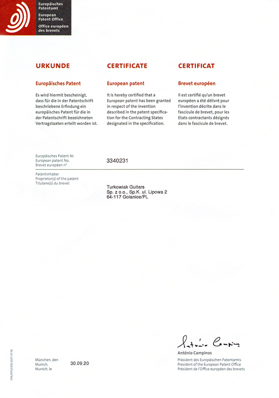 European Patent Office Certificate